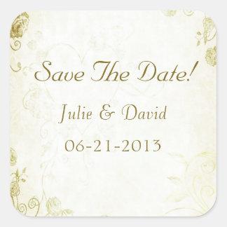 Elegant Gold Vintage Wedding Save The Date Square Sticker