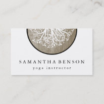 Elegant Gold Watercolor Tree Yoga and Meditation Business Card