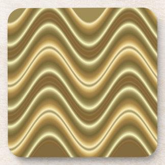 elegant gold wave beverage coaster