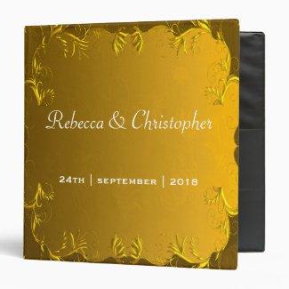 Elegant Gold Wedding Album 3 Ring Binder