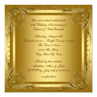 Elegant Gold Wedding Anniversary Party Card