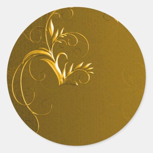 elegant gold wedding envelope seals classic round sticker