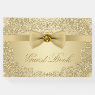 Elegant Gold Wedding Party Event Guest Book