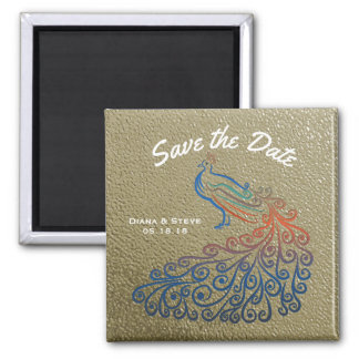 Elegant Gold Wedding Peacock Save the Date Magnet