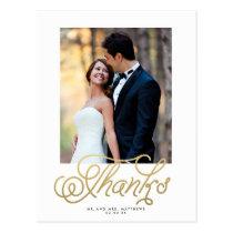 Elegant Gold Wedding Photo Thank You Postcard