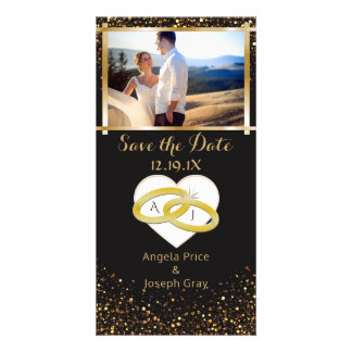 Elegant Gold Wedding Rings | Save the Date Heart Card
