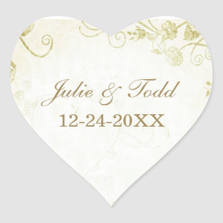 Elegant Gold Wedding Save The Date Heart Sticker