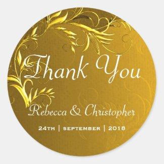 Elegant Gold Wedding Thank You Classic Round Sticker