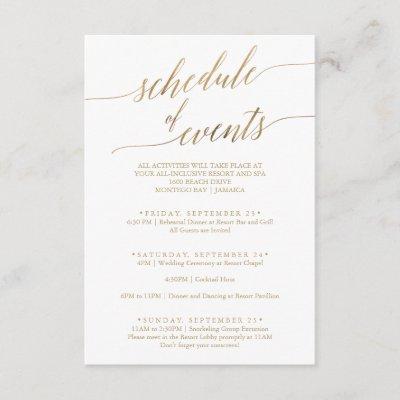 Elegant Gold Wedding Weekend Schedule of Events Enclosure Card