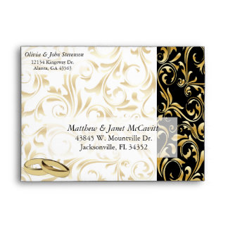 Elegant Gold, White and Black Damask Envelope
