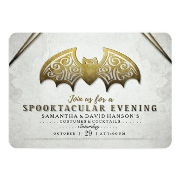 Halloween Themed Elegant Gold White Bat Spooktacular Evening Invite