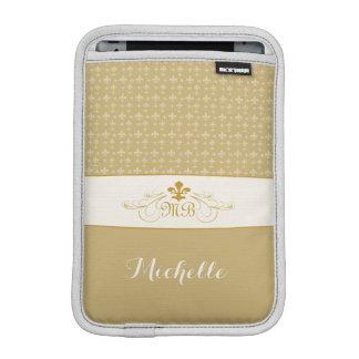 Elegant Gold White Fleur de Lis iPad Mini Sleeves
