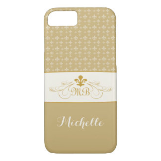 Elegant Gold White Fleur de Lis iPhone 8/7 Case