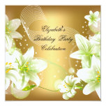 Elegant Gold White Floral Birthday Party 5.25x5.25 Square Paper Invitation Card