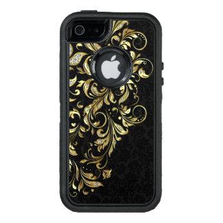 Elegant Gold & White Glitter Floral Lace On Black OtterBox iPhone 5/5s/SE Case