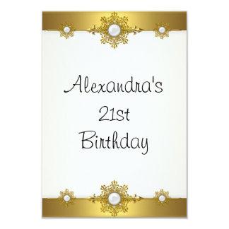 Elegant Gold White Jewel 21st Birthday Custom Invite