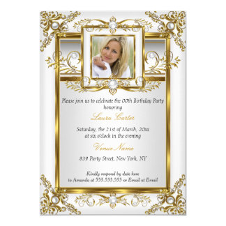 Elegant Gold White Pearl Damask Photo Birthday 4a Card