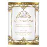Elegant Gold White Pearl Princess Quinceanera 4.5x6.25 Paper Invitation Card
