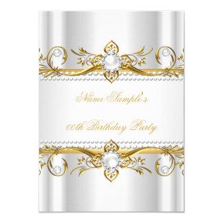 Elegant Gold White Pearl Silk Birthday Party Card