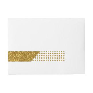 Elegant Gold White Polka Dots Glitter Photo Print Wraparound Address Label