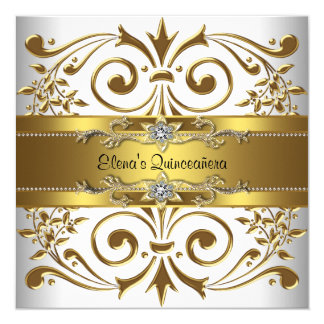 Elegant Gold White Quinceanera Card