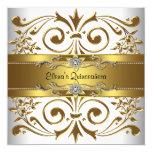 """Elegant Gold White Quinceanera 5.25"""" Square Invitation Card"""