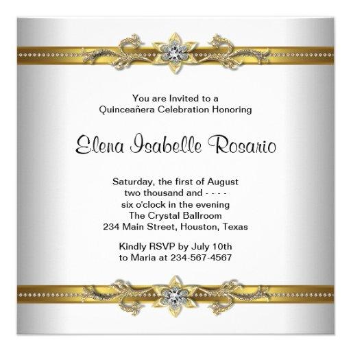 Elegant Gold White Quinceanera Invitations (back side)