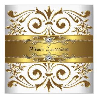 Elegant Gold White Quinceanera Personalized Invite