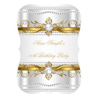Elegant Gold White Silver Pearl Silk Birthday 5x7 Paper Invitation Card