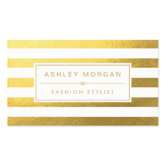 Elegant Gold White Stripes - Chic and Stylish Business Card