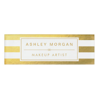 Elegant Gold White Stripes Custom Name Title Name Tag
