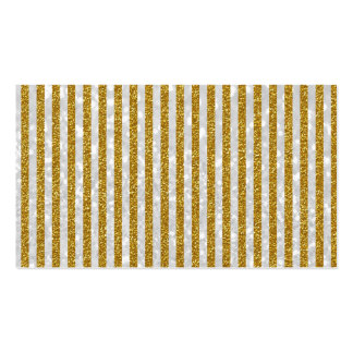 Elegant Gold White Stripes Glitter Photo Print Business Card Templates