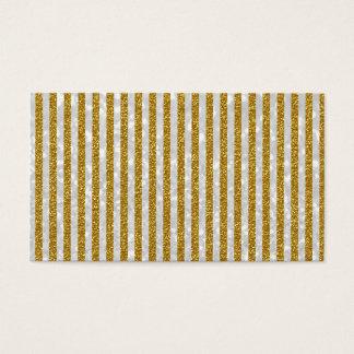 Elegant Gold White Stripes Glitter Photo Print Business Card