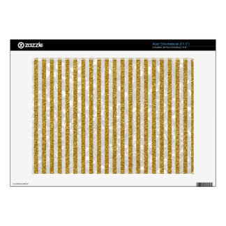 Elegant Gold White Stripes Glitter Photo Print Decal For Acer Chromebook