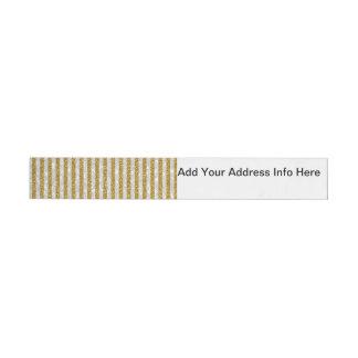 Elegant Gold White Stripes Glitter Photo Print Wraparound Address Label