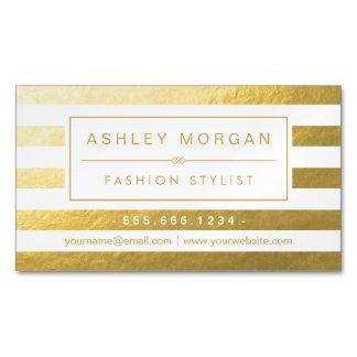 Elegant Gold White Stripes - Luxury and Stylish Business Card Magnet