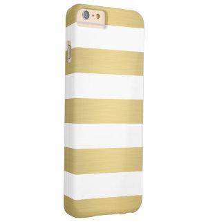 Elegant Gold White Stripes Metallic Luxury Barely There iPhone 6 Plus Case