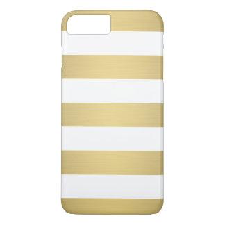 Elegant Gold White Stripes Metallic Luxury iPhone 7 Plus Case