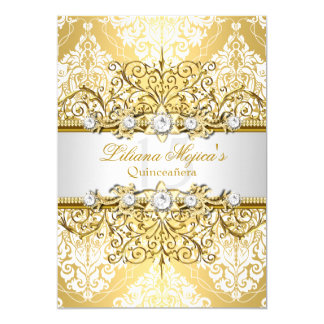 Elegant Gold White Vintage Glamour Quinceanera 4 Card