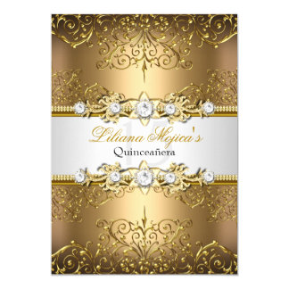 Elegant Gold White Vintage Glamour Quinceanera Card