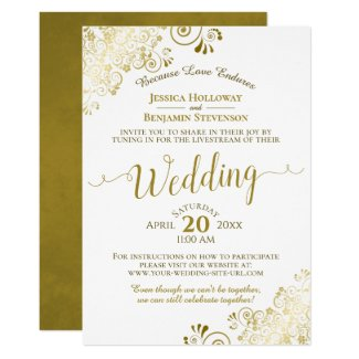 Elegant Gold & White Virtual Wedding Invitation Livestream