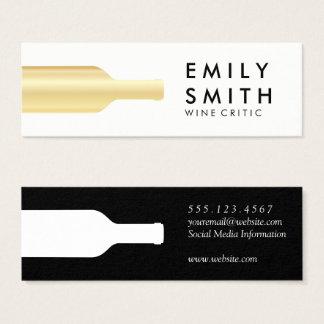 Elegant Gold White Wine Bottle Mini Business Card