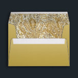 """Elegant Gold with Faux Sequins Envelope<br><div class=""""desc"""">Elegant custom gold gradient envelopes with faux gold and diamond sequins image inside.  These classy glamorous envelopes are decorated inside and out.  Beautiful,  stylish,  chic,  trendy,  modern envelopes.  If you need assistance customizing your product please contact me through my store. I will be happy to help.</div>"""