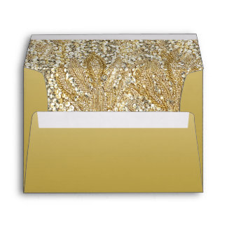 Elegant Gold with Faux Sequins Envelope