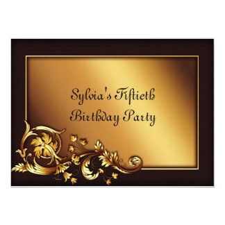 Elegant Gold Womans 50th Birthday Party Card