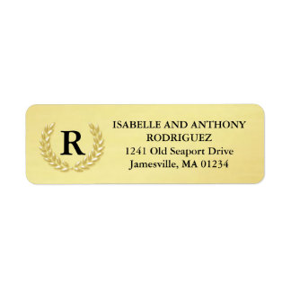 Elegant Gold Wreath Monogram Return Address Labels