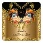 Elegant Gold Yellow Bird Black 70th Birthday Personalized Invitations