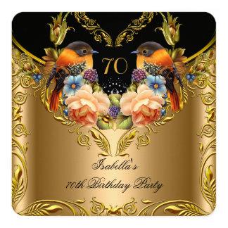 Elegant Gold Yellow Bird Black 70th Birthday 5.25x5.25 Square Paper Invitation Card