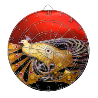 ELEGANT GOLD YELLOW PEACOCK IN RED DARTBOARDS