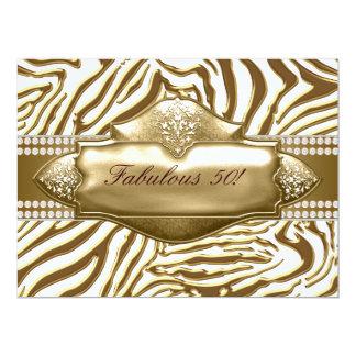 Elegant Gold Zebra 50th Birthday Party Card